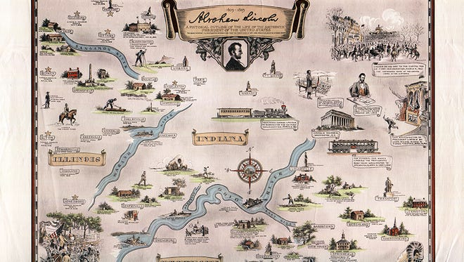"""Map of Abraham Lincoln's involvement in Indiana, Kentucky and Illinois from new book """"Mapping Indiana."""""""