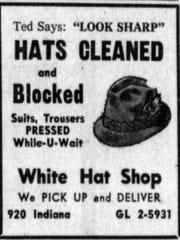 White Hat Shop ad, 1962  (Sheboygna Press)