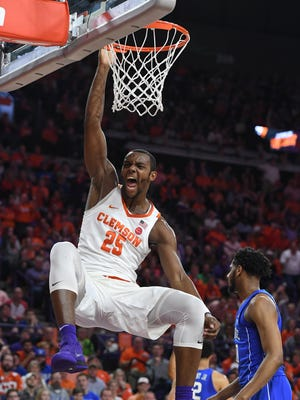 Clemson forward Aamir Simms (25) reacts after dunking against Duke during the 1st half on Sunday, February, 18 2018, at Clemson's Littlejohn Coliseum.