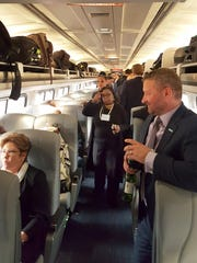As the chartered Amtrak train coursed through New Jersey