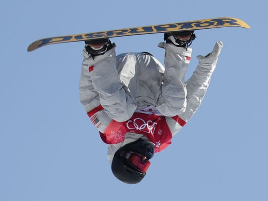 Kyle Mack of the USA qualifies for the snowboard big air final.