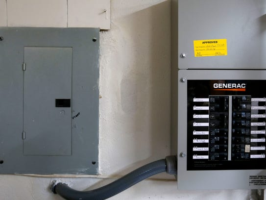 A whole-house generator is tied into the breaker box