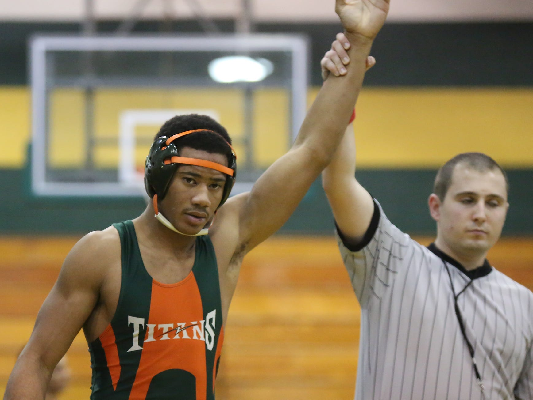 East Ramapo's Jhavon Innocent takes the win in a 170-pound match during a quad meet in the Section 1 dual meet championships at Ramapo High School in Spring Valley on Wednesday, Dec. 2, 2015. East Ramapo defeated Yonkers 53-29 and advances to the semifinals.