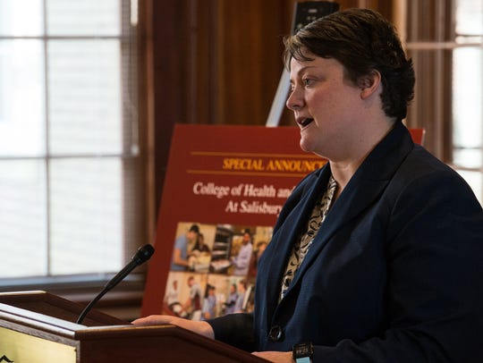 Kelly Fiala, transitional dean of the College of Health and Human Services, speaks at a media event at Salisbury University on Tuesday, Feb. 6.