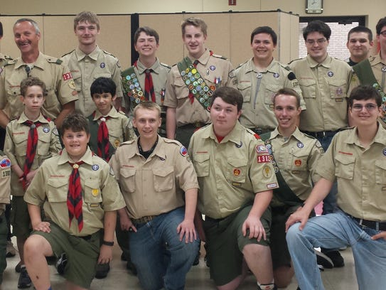 Troop 1382 of Livonia following the Eagle ceremony.