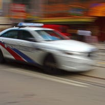 Illustration of police car in motion