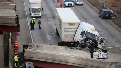 Work continues in the aftermath of the bridge collapse on Interstate 75 today in Cincinnati. The collapse killed a worker and injured a truck driver. The Ohio Department of Transportation said the busy artery through downtown Cincinnati will be closed at least two to three days.