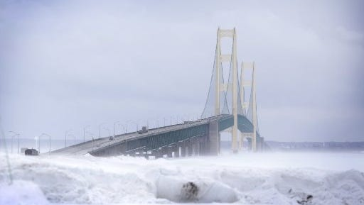 The Mackinac Bridge photographed from the Michigan State Police driveway in the Upper Peninsula Feb. 11, 2015.