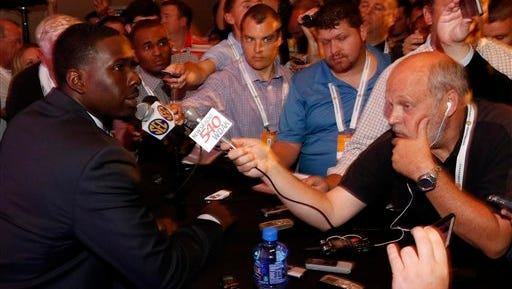 Auburn's Jeremy Johnson speaks at SEC Media Days on Monday in Hoover, Ala.