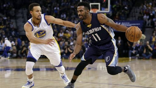 Memphis Grizzlies' Mike Conley (11) dribbles next to Golden State Warriors' Stephen Curry (30) during the first half of an NBA basketball game Monday in Oakland, Calif.