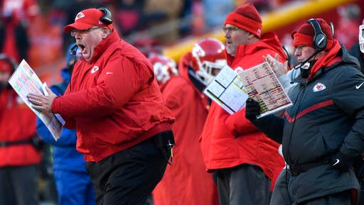Kansas City Chiefs head coach Andy Reid, left, yells on the sideline during the second half of an NFL football game against the Tennessee Titans in Kansas City, Mo., Sunday, Dec. 18, 2016.
