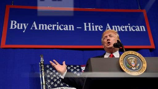 President Donald Trump speaks at tool manufacturer Snap-on Inc. in Kenosha, Wis., April 18. Trump later signed an executive order that seeks to make changes to a visa program that brings in high-skilled workers.