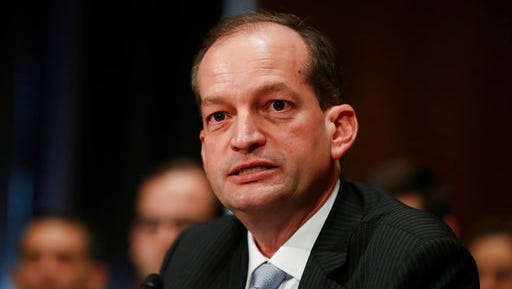 FILE - In this March 22, 2017 file photo, Labor secretary-designate Alexander Acosta testifies on Capitol Hill in Washington. The Senate is poised to confirm Acosta as President Donald Trump's secretary of labor. The vote expected Thursday, April 27, 2017, would make Acosta the only Hispanic in the Cabinet and complete Trump's Cabinet as he approaches the 100-day mark of his presidency.