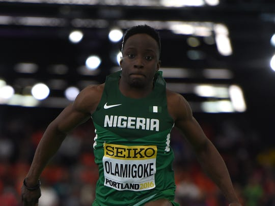 Nigeria's Olu Olamigoke competes during Triple Jump final at the IAAF World Indoor athletic championships in Portland, Oregon on March 19, 2016.