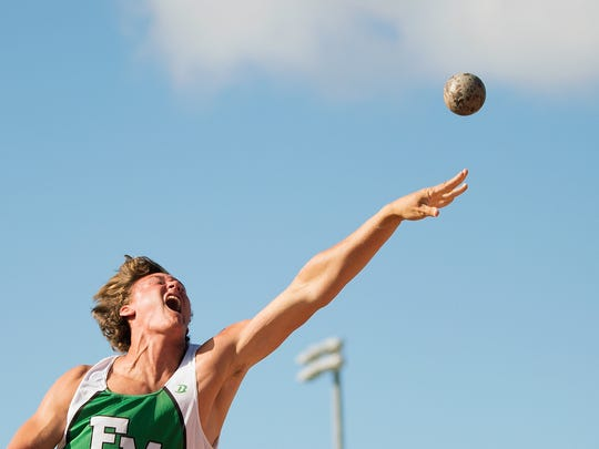 KINFAY MOROTI/THE NEWS-PRESS… Fort Myers High School's Jacob Lemmon competes in the shot put event on Thursday at the Class 3A Regional track and field meet at Charlotte High School in Punta Gorda. Lemmon placed fourth and will advance to the state final.