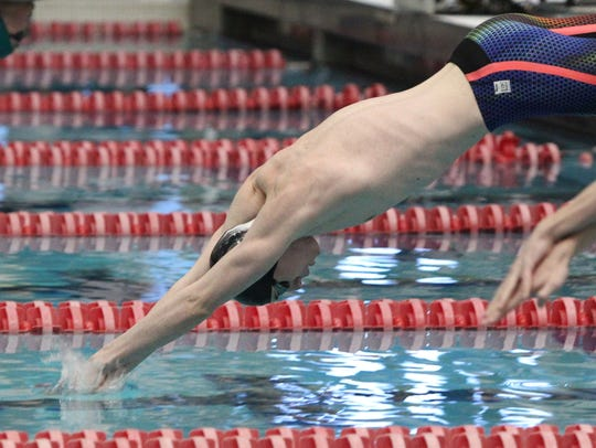 Karl Grunder of Chenango Valley swims in a preliminary