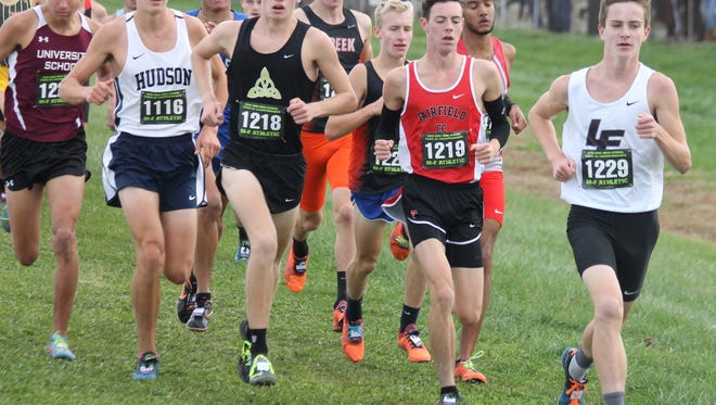 Lakota East's Dustin Horter, right, and Fairfield's Zach Birdsall, right-middle, get off to fast starts in the Division I cross country state championship race.