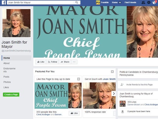 A screenshot of Joan Smith's Facebook page for her