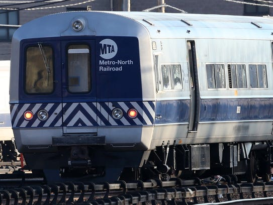A Metro-North passenger train in the North White Plains