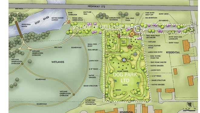 The conceptual design for the planned Laura & Peter Mossakowski Family Dog Park in Bellevue.