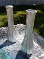 Spray paint your bud vases, if desired.  I used metallic silver, but you could use any color you like, or leave clear. Let dry thoroughly.