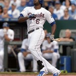 Kansas City Royals center fielder Lorenzo Cain connects for a two-run single in the fifth inning against the Minnesota Twins at Kauffman Stadium on Saturday.