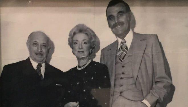 From left, Holocaust survivor Simon Wiesenthal, who was instrumental in the capture of Nazi war criminals after World War II, Diane and Leonard Sherman in an undated photo taken in Vienna, Austria.