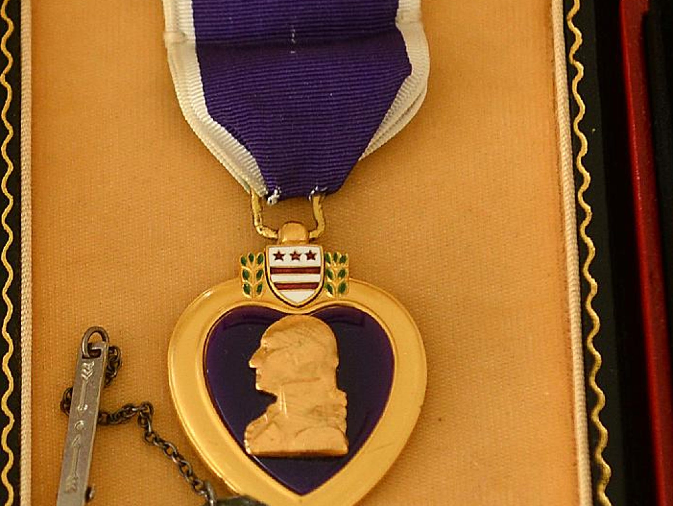 Medals earned by World War II veteran Bud Olson of