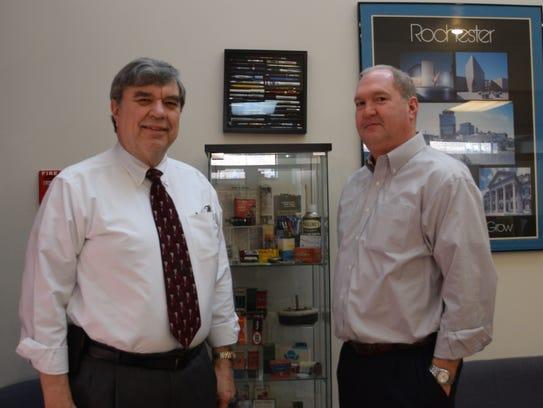 Glenn Masline, left, and Jim Gerling at Masline Electronics.