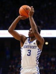 Hamidou Diallo shoots during a game against Virginia Tech.