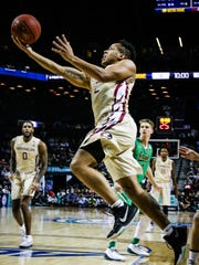 CJ Walker (2) drives the ball to the hoop against Notre Dame in the ACC Semifinal game at the Barclays Center in Brooklyn, NY on March 10th, 2017. The Seminoles fell to the Fighting Irish 77-73.