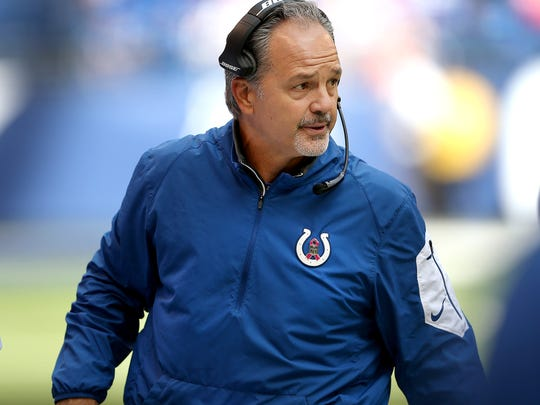 Indianapolis Colts head coach Chuck Pagano looks on from the sidelines during the first half of an NFL football game Sunday, Oct. 25, 2015, at Lucas Oil Stadium.