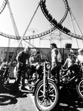 1991: Motorcyclists ride in a fundraiser for the New Jersey Special Olympics. Tim Marchetti and James Fonshill, both of Trenton, rode from Burlington to Great Adventure in Jackson.