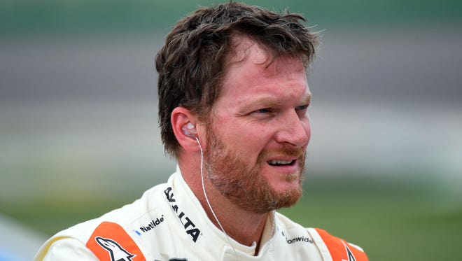 Jul 7, 2017; Sparta, KY, USA; NASCAR Cup Series driver Dale Earnhardt Jr.(88) during qualifying for the Quaker State 400 at Kentucky Speedway. Mandatory Credit: Christopher Hanewinckel-USA TODAY Sports