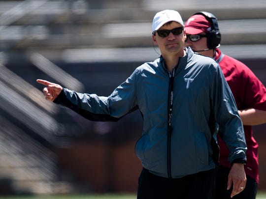 Troy head coach Neal Brown coaches during the Troy