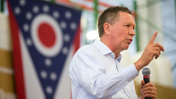 Ohio Gov. John Kasich speaks during a campaign stop