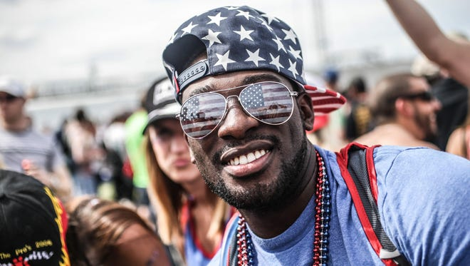 Jeremy Croffie rocks the stars and stripes at the Indianapolis 500 Coors Light Carb Day concerts, at the Indianapolis Motor Speedway, Friday May 22nd, 2015.
