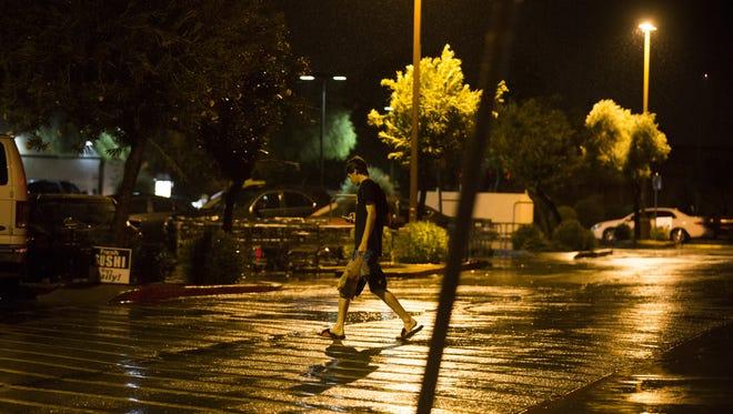 Rain falls during a monsoon storm on July 29, 2016.