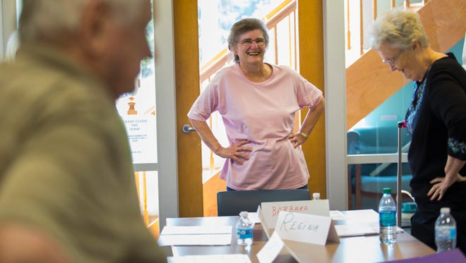 Barbara Ditrolio laughs during the 'A Matter of Balance' class at Bayhealth in Smyrna.