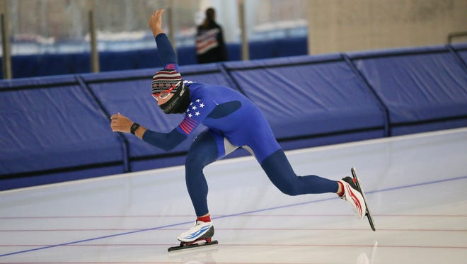 Emery Lehman practices at the Pettit Center with the U.S. national long-track speedskating team last week.