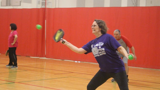 Carolyn Ebert, of Mt. Gilead, started playing pickleball about two years ago. A former tennis player, she said that pickleball is easier on the body and a lot of fun.