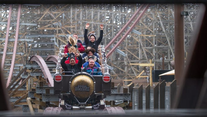 Riders on Steel Vengeance, a new hybrid roller coaster at Cedar Point.