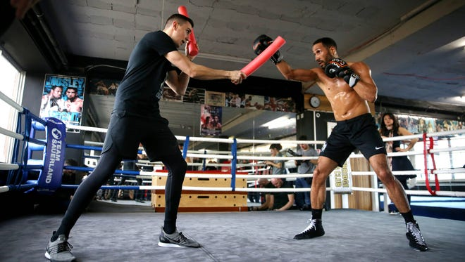 James DeGale of England works out in the ring during a session during a James DeGale Media Workout ahead of his fight against Chris Eubank Jr. at Stonebridge Boxing Club in London.