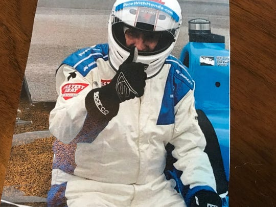 Russ Van Treese rode in a two-seater around the track