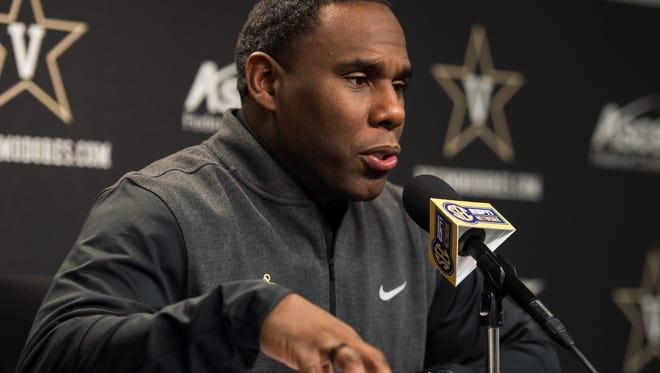 Vanderbilt football coach Derek Mason speaks during a football National Signing Day press conference at Vanderbilt University in Nashville, Tenn., Wednesday, Feb. 1, 2017.