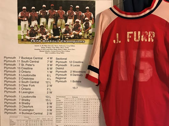 The poster of the 1978 Plymouth baseball team that hangs in News Journal Sports Reporter Jake Furr's home office
