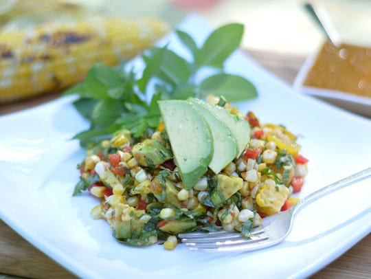 Grillled Corn and Avocado Salad also has tomatoes and