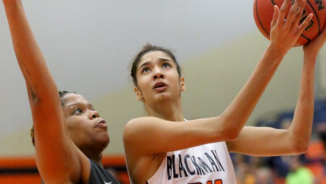 Blackman's Jazz Bond (24) was named to The Daily News Journal's All-Area Girls Basketball first team.
