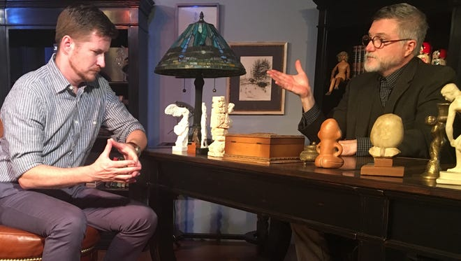 Matt Lutz (left), as C.S. Lewis, and Kelley Hinman, playing Sigmund Freud, skirmish over the very nature of life (and death).