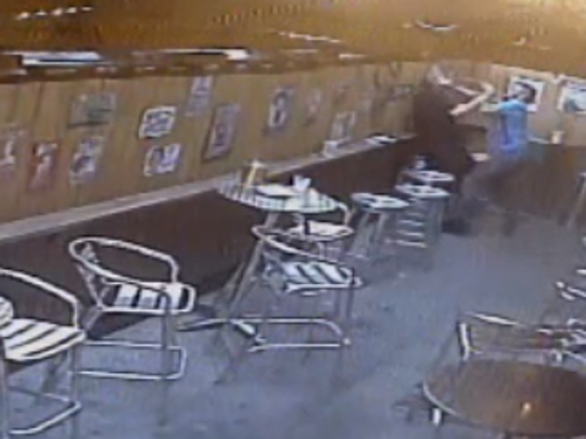 An image taken from surveillance video shows an assault that took place at Blazing Saddle, a Des Moines bar, this month.